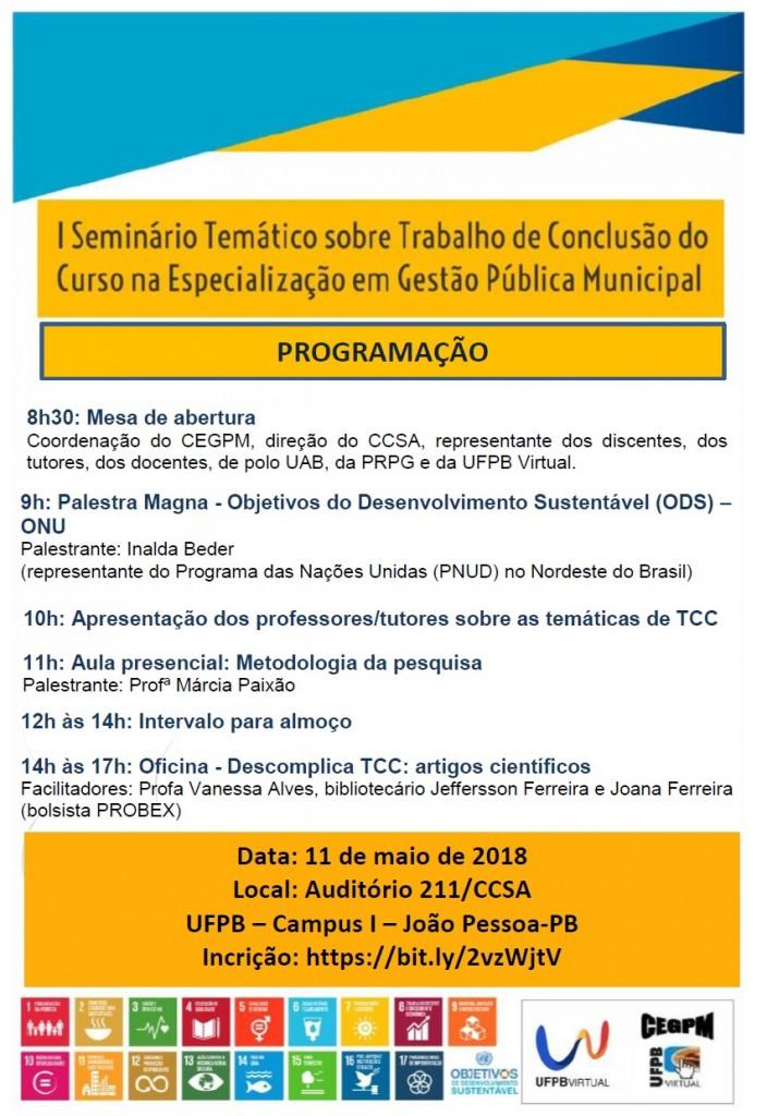 Folder Seminário TCC CEGPM 2018